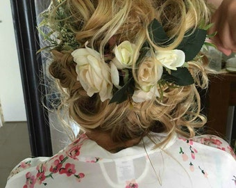 White Flower Crown Ivory Flower Headband Flower Headpiece Bidal Floral Crown Wedding Flower Crown Wedding Hair Wreath Leaf Flower Reva