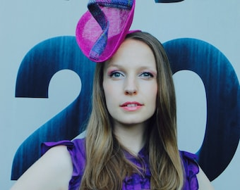 Magenta Pink High Fashion front perching fascinator cocktail hat