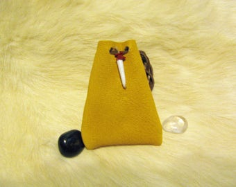 Small Leather Pouch , Leather Bag Pouch , Crystal Pouch , Dentilium Shell , Red Coral Chips , Light Gold Leather , Hand Sewn Bag , Handmade