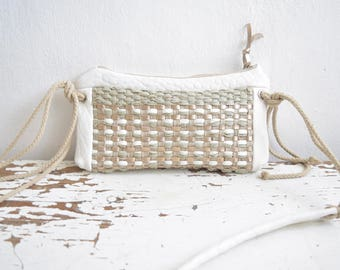 White Mini Purse in Leather and Boho Weave - Colour options - Made to Order