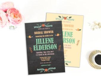 Bridal Shower Invitation Template, Floral Bridal Shower, DIY, Instant Download, Editable Invitation, Printable Template, Invitation Kit