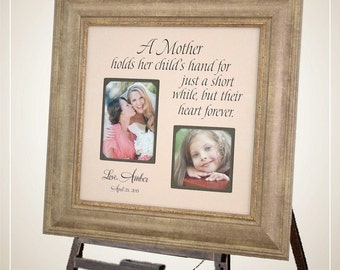 Personalized Wedding Frame Mother of the Bride Mother of the Groom Wedding Gift Mom Picture Frame, A MOTHER HOLDS 16x16
