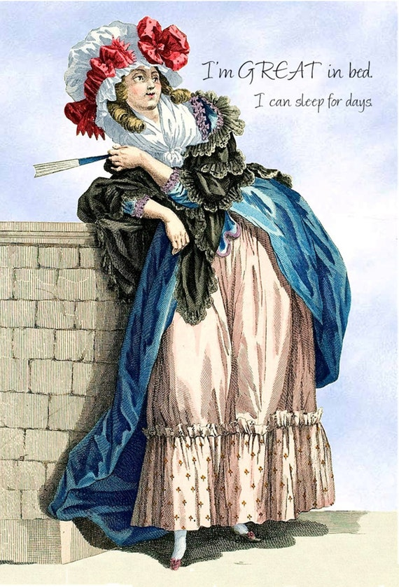 "I'm Great In Bed. I Can Sleep For Days. ~ Marie Antoinette Funny 4"" x 6"" Postcards ~ Free Shipping in USA"