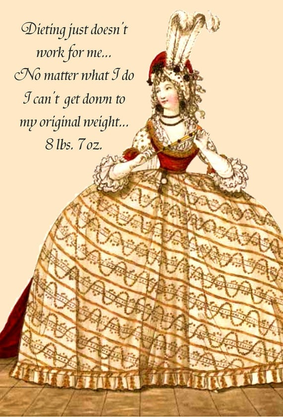 Dieting Just Doesn't Work For Me... Marie Antoinette Postcards. Marie Antoinette. Cards. Gift For Her. Marie Antoinette Hair. Diet. Queen.