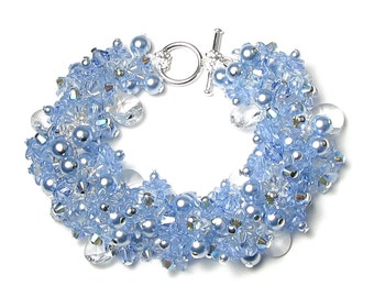 Blue Flower Cluster Swarovski Crystal Pearl Silver Charm Bracelet Dainty Summer Jewelry for Women Gorgeous Something Blue Wedding Day Gifts