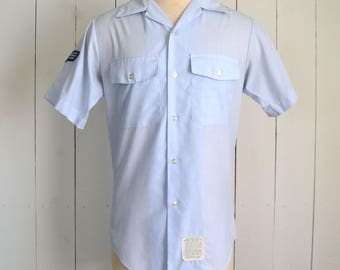 US Air Force Shirt - Vintage Short Sleeve Button Up - Baby Blue Uniform - Senior Airman Patches - Mens Medium M
