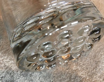 Raised Bubble Bottom Glass for Water / Nightstand / Vintage Clear Glass - #D1111