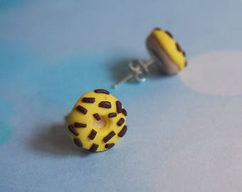 Stud Doughnut Earrings ( polymer clay jewelry miniature doughnut kawaii jewelry silver earrings yellow doughnuts chocolate sprinkle )