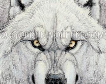 Snarling White Werewolf Miniprint
