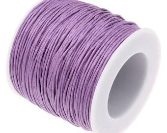 Waxed Cotton Cord : Lilac Purple 1mm Waxed Cord String / Bracelet Cord / Macrame Cord [Choose 10 feet or 30 feet] 93233-5