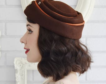 Vintage Brown Wool Hat with Copper Ribbon and Clear Prong Set Rhinestones