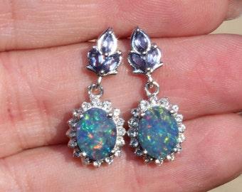 Genuine AUSTRALIAN Boulder Opal & Tanzanite Earrings,Australian Opal Drop,Oval Setting,Sterling Silver Opal Earring,Birthstone,Rainbow,OOAK