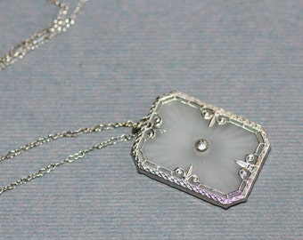 STUNNING Vintage Art Deco Camphor Glass Necklace,Paste Rhinestone 1920s Sunray Rhodium Plated Filigree Pendant Necklace,Lavaliere,Victorian