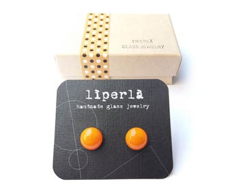 Orange Stud Earrings, Orange Fused Glass studs earrings, tiny glass studs