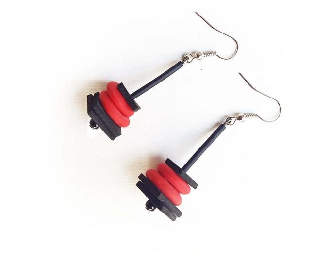 Red matte earrings - Glass circle earrings - Tomato red glass circle pendant earrings - Red earrings - Tomato earrings