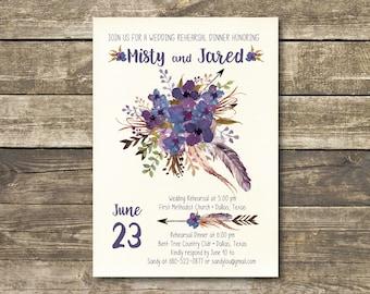 Printable Bridal Shower Invitation - Boho Watercolor Lavender / Navy / Purple Rustic Wedding - Bohemian Bridal Lunch - Bridal Tea