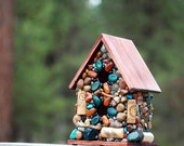 Outdoor Mosaic Birdhouse Nature theme Garden Art Sturdy bird house recycled gift winter birdhouse wren sparrow nest Oregon wine cork