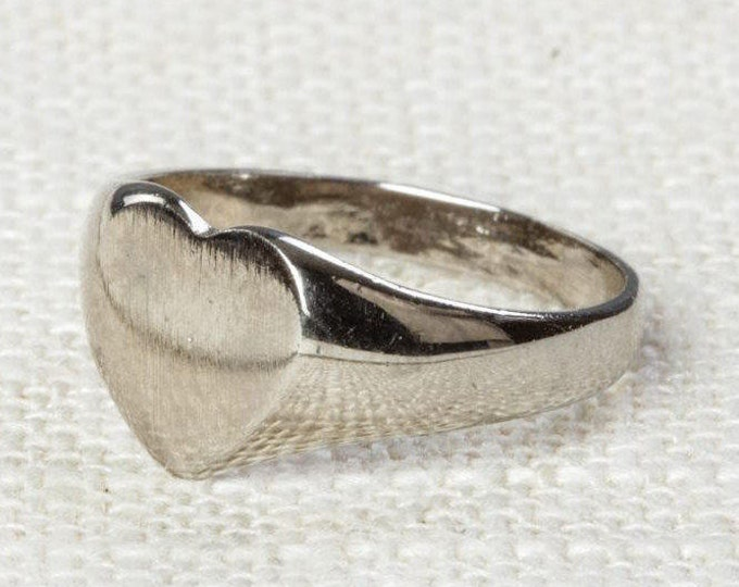 Heart Vintage Ring Silver US Womens Size 5.5 7I