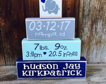 New BABY Name BLOCKS, Baby Name Sign, Stacking Wood Blocks, New Baby Gift, Baby boy, Baby Girl, Wood Sign, w/ Vinyl Lettering, Personalized