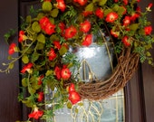 Spring Wreath - Summer Wreath - Wreath - Outdoor Wreath - Wreath For The Door - Red Petunia Wreath