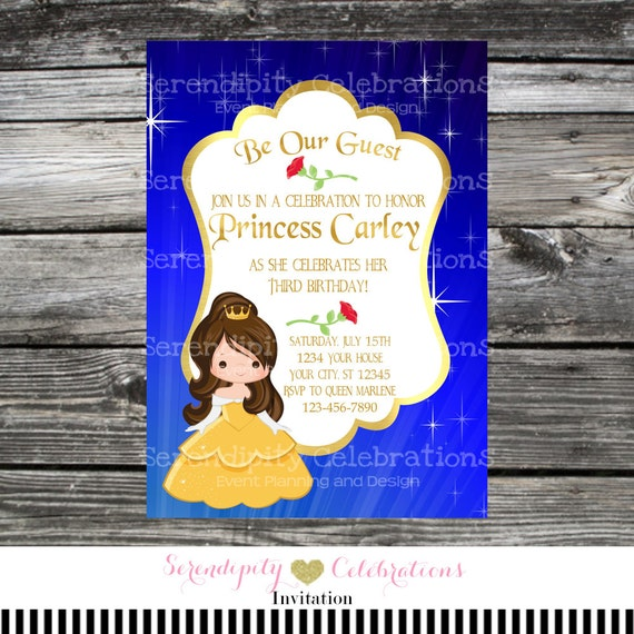 Princess Invitation Beauty and the Beast Belle Birthday Invitation