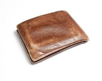 vintage distressed brown leather wallet men leather wallet Amity cowhide worn in thrashed men's vintage leather wallet