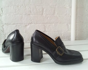 Black Chunky Heel Loafers 39 8.5 90s Vintage Nine West Square Toe Leather Platform Loafer Pumps Bronx Clueless Normcore Mod Minimalist Shoes