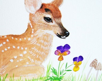 fawn painting, baby deer painting, Gouache painting. watercolor art, animal lover, woodland forest, wall art