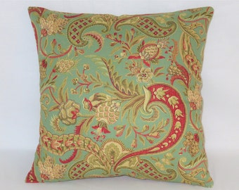 "Sea Green Paisley Floral Pillow, Waverly Rhapsody Fabric, Jade Teal Red Gold, 17"" Cotton Square, Ready Ship,  Cover Only or Insert Included"