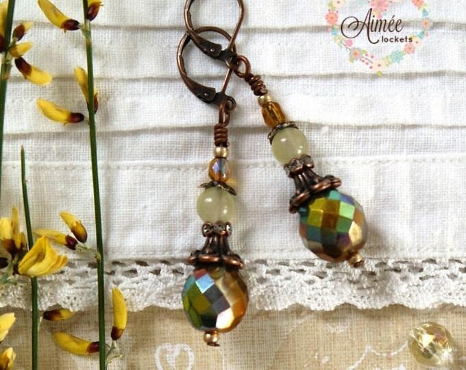 dangle earrings, brass earrings, czech glass bead earring, romantic ear-dangles, gemstone earring, victorian style earrings, retro, romantic