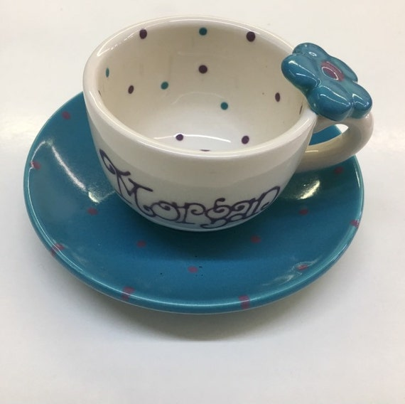 4oz personalized tea cup and saucer