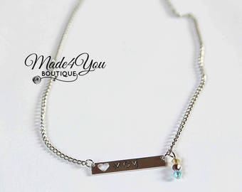 Mom Bar Necklace - Birthstone Bar Necklace - Mom Heart Necklace