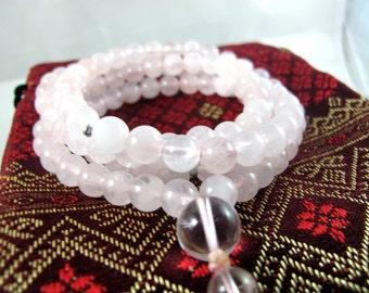 Rose Quartz Crystal Mala Necklace - Awakening Loving Kindness & Harmonious Balance -