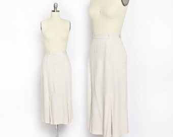 RESERVED - Vintage 40s Skirt - Linen Beige Pencil Skirt Kick Pleats High Waisted - Small
