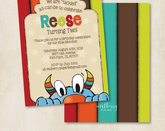 Custom Birthday Party Invitation by Mulberry Paperie - Tickle Monster Inspired