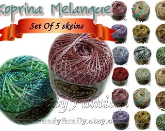 Set of 5 balls of viscose yarn Silk Koprina Melange. Rayon Hypoallergenic. Multicolor. Colour of your choice. Set of 5 skeins Wholesale. DSH