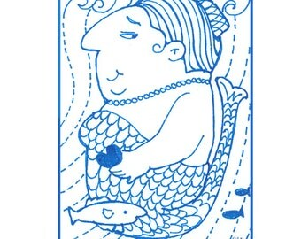 ACEO Mermaid Print with Zentangle Elements by Suzanne Urban Art