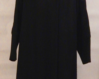 Spring SALE! Black Wool Coat with Fur Collar, A Milson Original, Women's Wool Coat with Fur Collar, Large