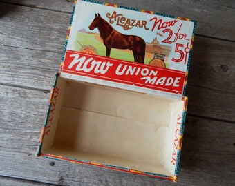 1930s Alcazar Trimmed and Nailed Wood Cigar Box featuring a fan on the lid and a horse in a racetrack on the interior and side