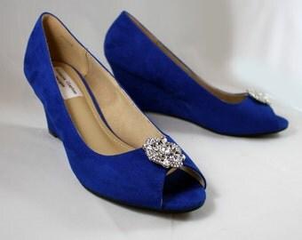 Royal blue wedges - wedding wedge shoes- cobalt blue wedges - blue suede shoes- Princess brooch