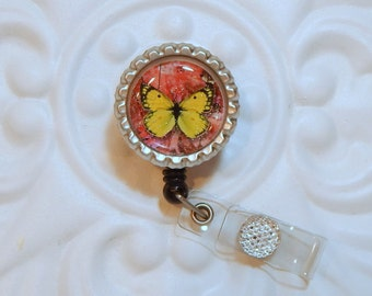 Retractable Badge Holder - Butterfly Badge Reel - Id Holder - Retractable Reel - Cute Badge Holder - Bottle  Cap  Badge Holder