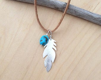 Silver Feather and Turquoise Necklace, Suede Leather Cord, Argentium Silver