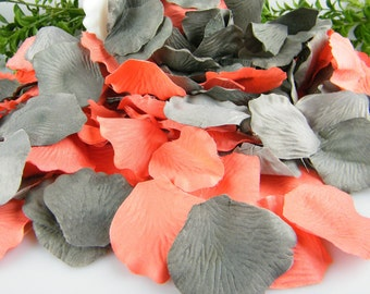 500 Coral & Grey Artificial Silk Rose Petals | Deep Coral and Gray Wedding | Flower Basket Petals | Ceremony Petals Table Decor | Bulk