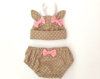 Baby Deer Hat & Bloomers Set