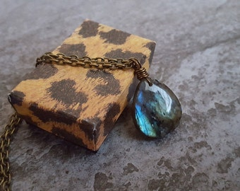 Labradorite Necklace - Unique Labradorite Teardrop Pendant On Antique Bronze Chain, Gift for Her