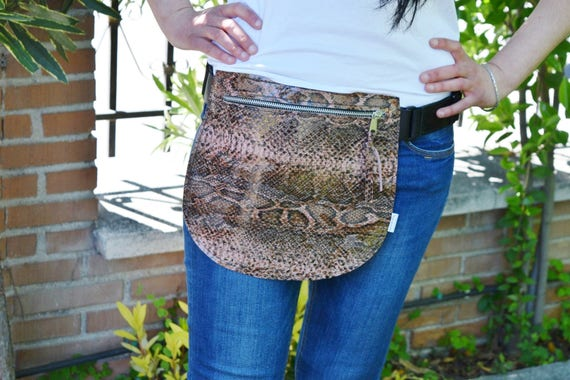 Leather waist bag,Belt bag,hip leather bag,fanny pack leather,snake bag,hip belt bag,rider bag,leather fanny,zipper waist,animal print bag