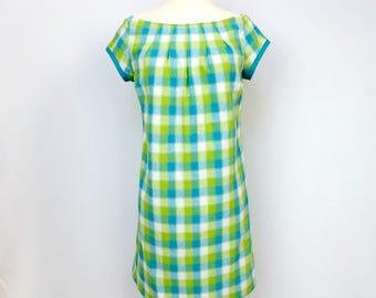 Green Plaid Dress - Reversible - Plaid Dress - Turquoise
