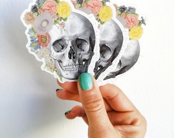Springtime skull,  Human skull with flowers stickers, laptop stickers,Decal stickers , Medical student gift, BFF gift, Girls gift. STC005