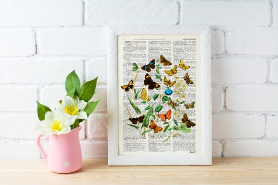 Summer Sale Wild Flowers and butterflies Art print- Dictionary art Wall decor butterflies and flowers gift art print flowers BFL035