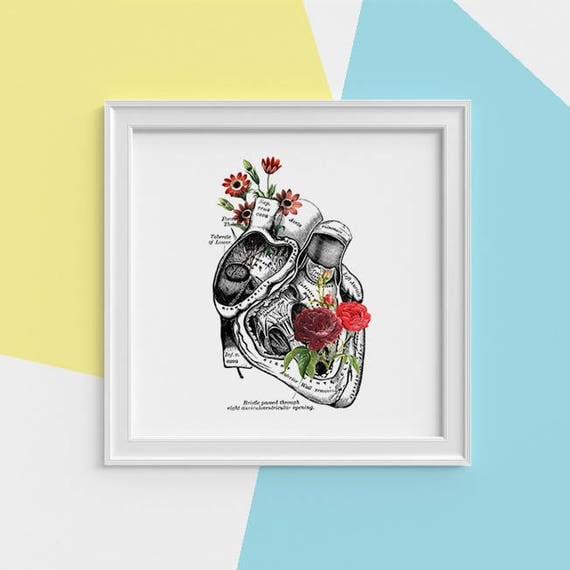 Human Heart with roses Print, wall art Human anatomy print Science student gift, Human heart, art print, Anatomy with flowers SKA080SQ1